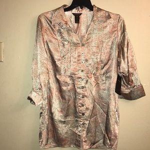 Múltiples,pink/gray print tunic.size OX